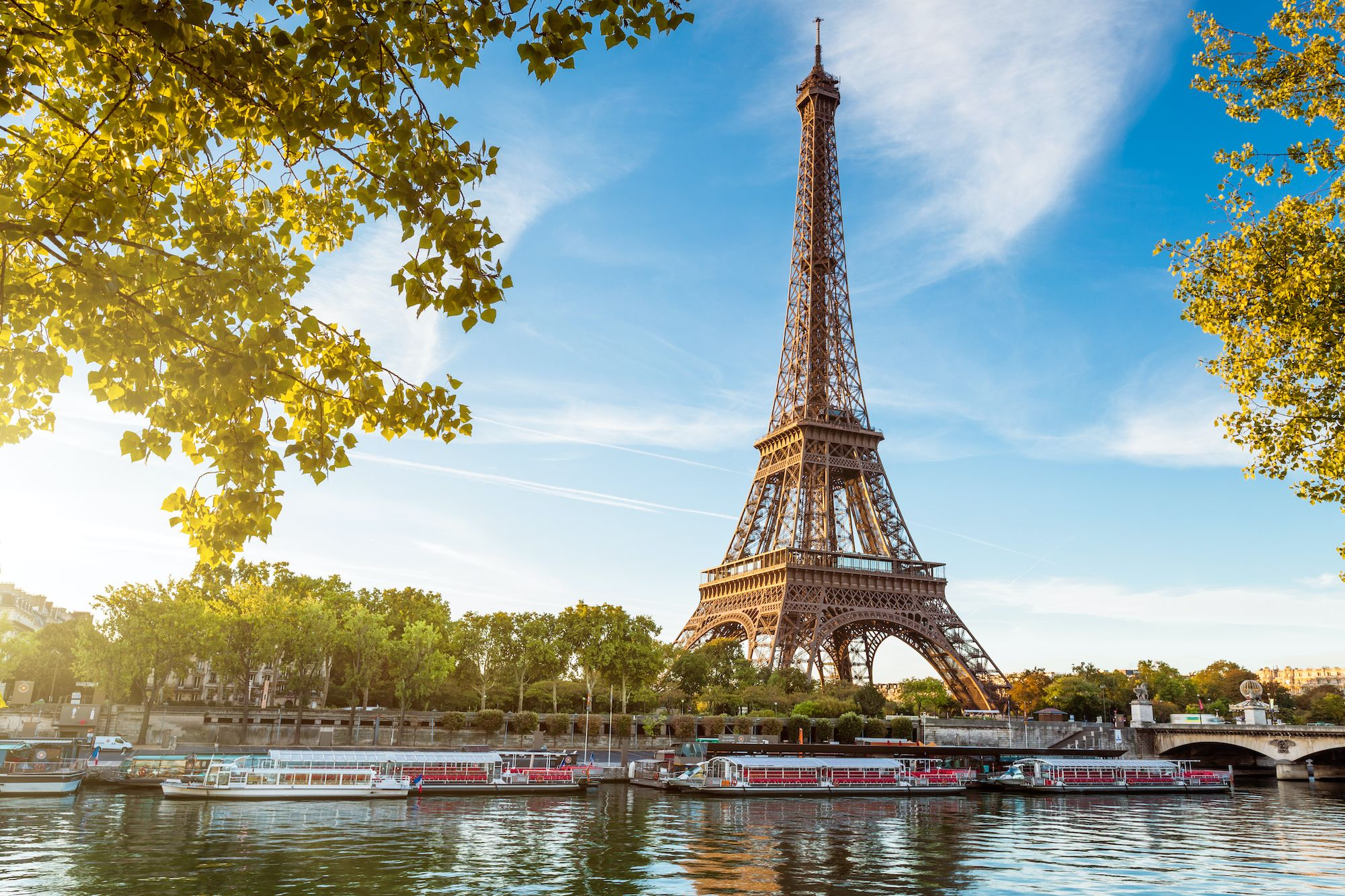 Lighting Paris Eiffel Tower With Sky And Clouds Background