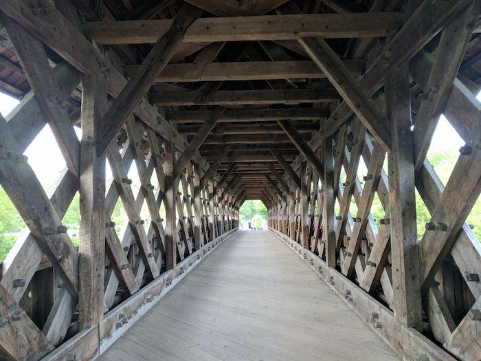 Timberframe pedestrian covered bridge