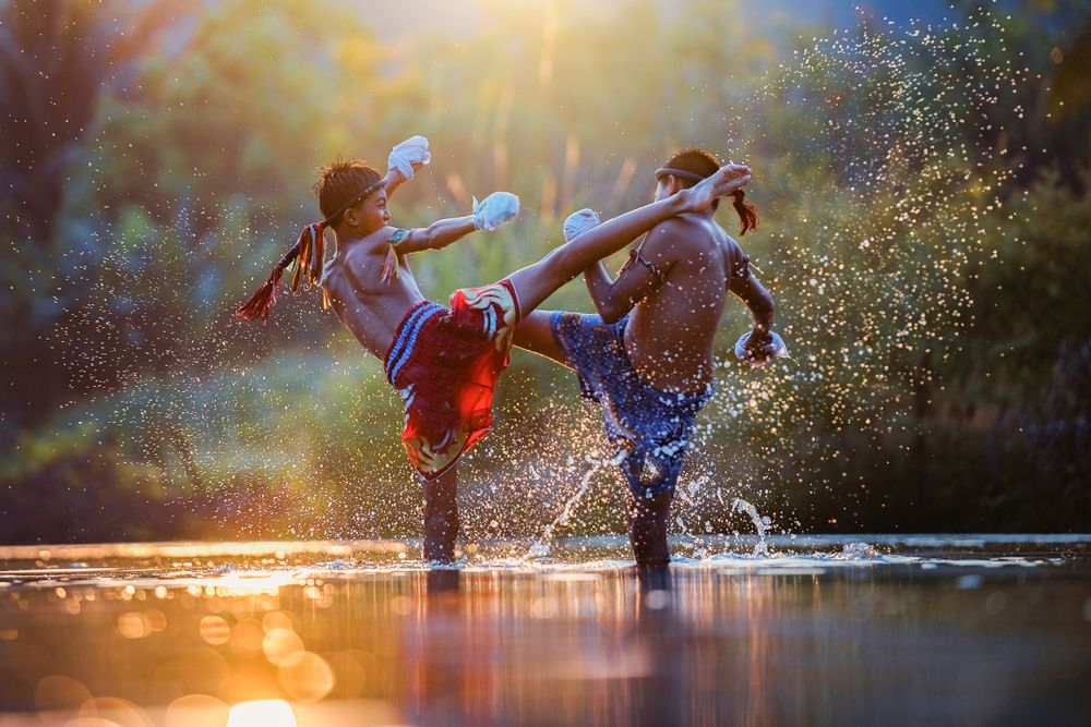 Muay Thai Boxing in water