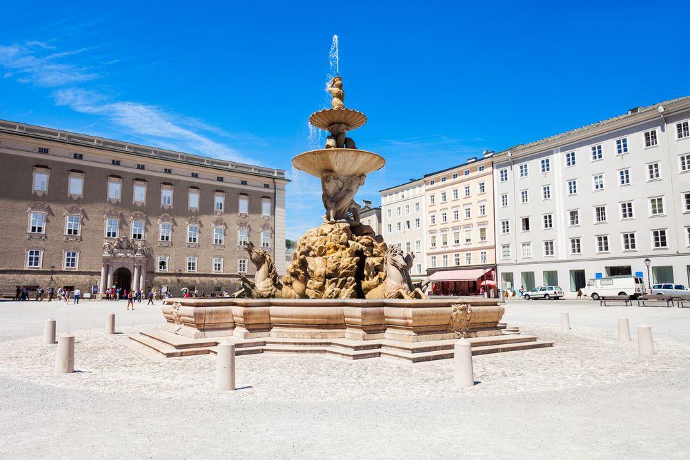 Residenzbrunnen Fountain on Residenzplatz square