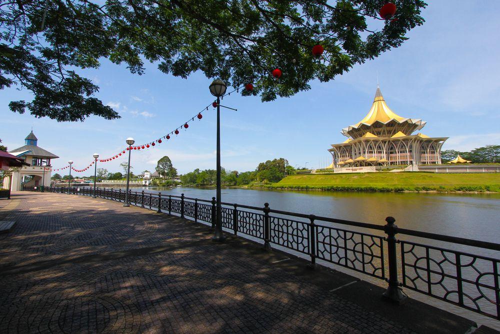 Waterfront walk way in Kuching