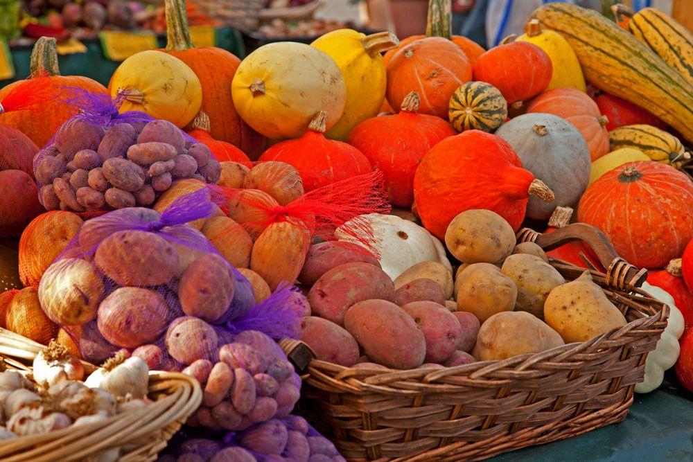 Vegetable display in Bellingham Farmers Market