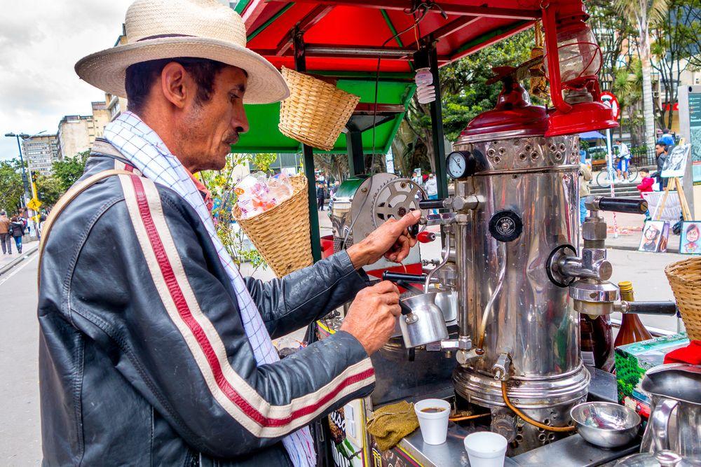 Street vendor selling coffee in Bogota