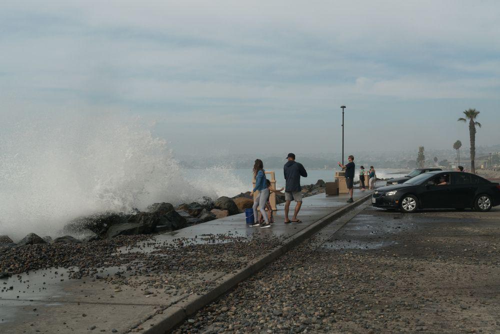 Big wave crash unto shore in Doheny State Park