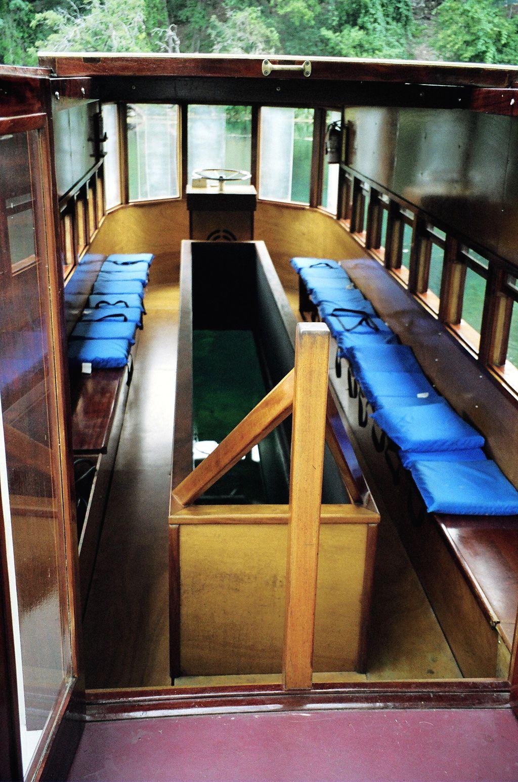 Glass bottom boat interior