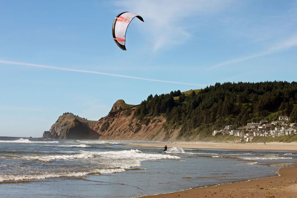 Kite surfing on a beach in Lincoln