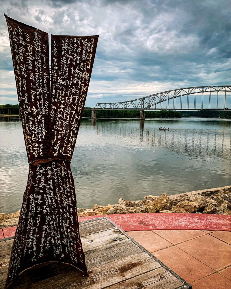 Public art at Mississippi Riverwalk in Dubuque