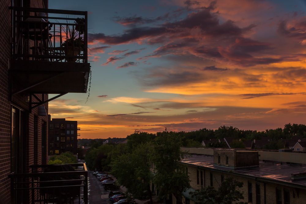 Sunset from a red brick house in North Loop