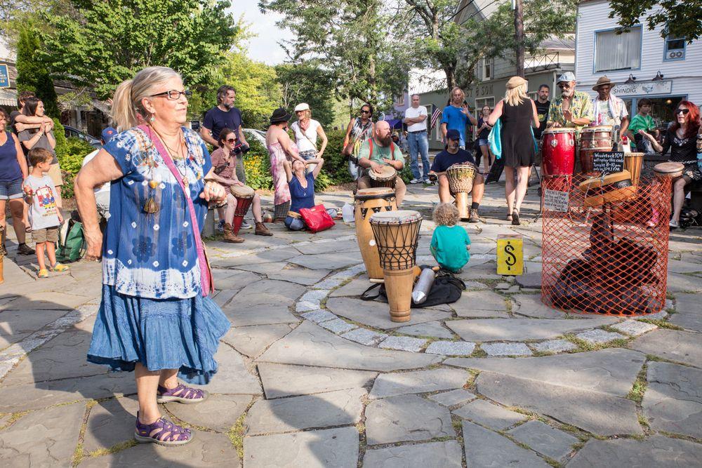 Drum circle gathering in Woodstock