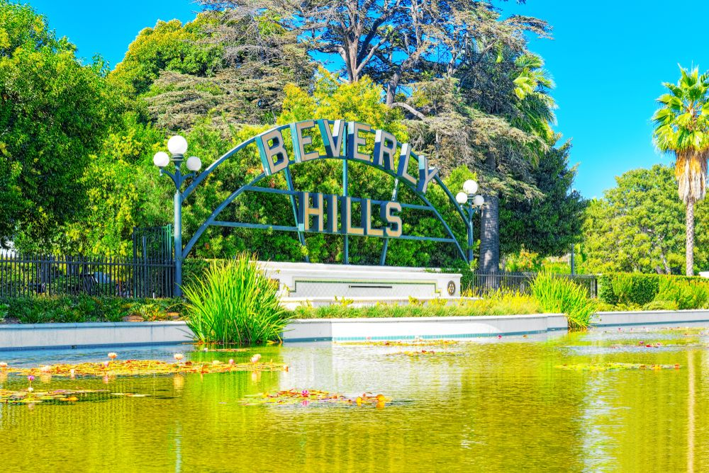 Beverly Hills Sign & Lily Pond