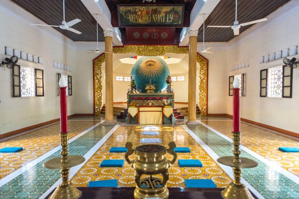 Interior of Cao Dai Temple