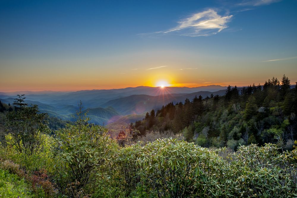 Sunset over  Great Smoky Mountains National Park