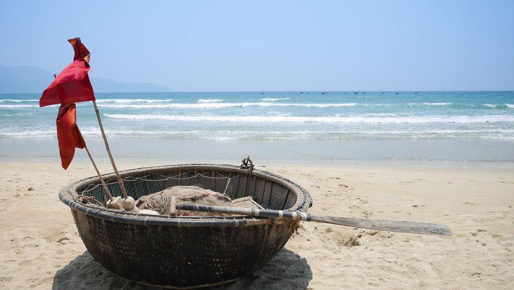 Bamboo fishing boat in Non Nuoc Beach