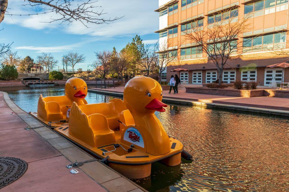 Duck boats in Arkansas Riverwalk