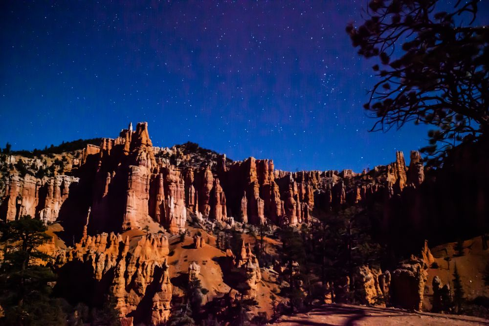 Stargazing night sky at Bryce Canyon