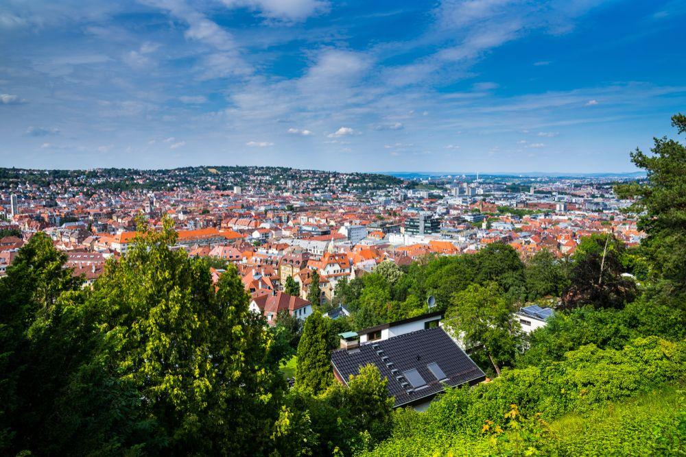 Aerial view of buildings in Stuttgart West