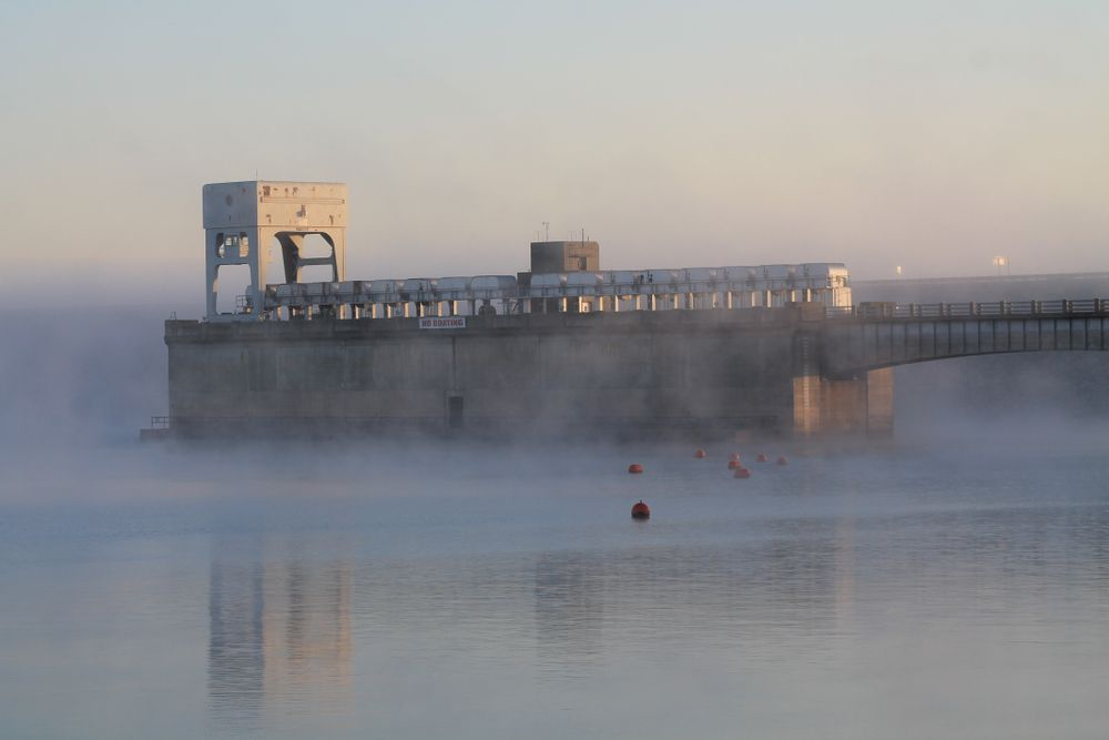 Denison Dam on a cold morning