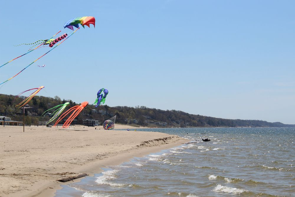 Large kites at Grand Haven State Park
