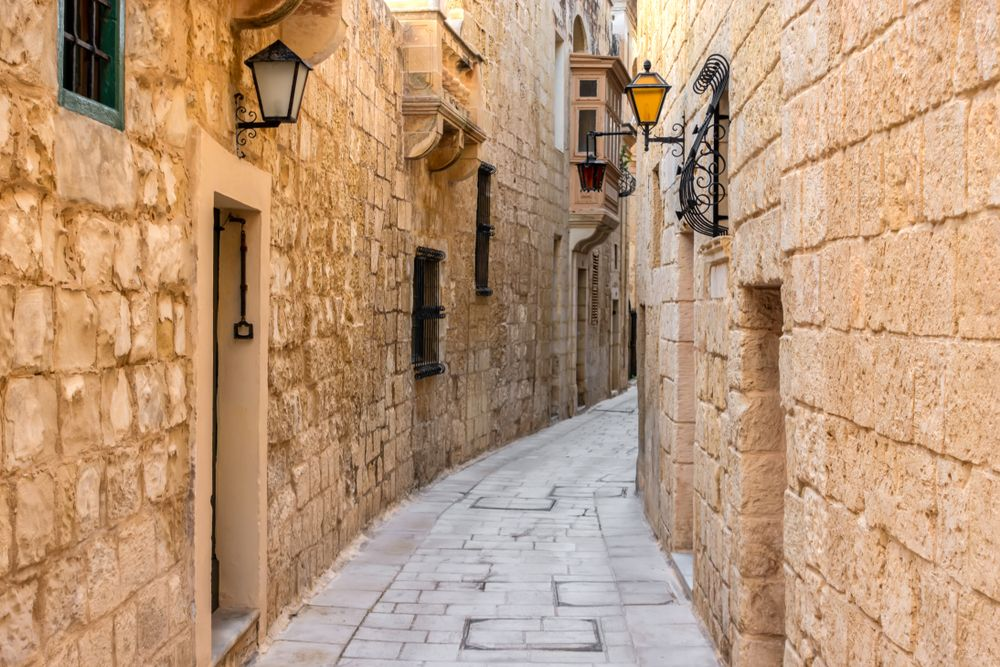 Anciend narrow medieval street in Mdina, Rabat