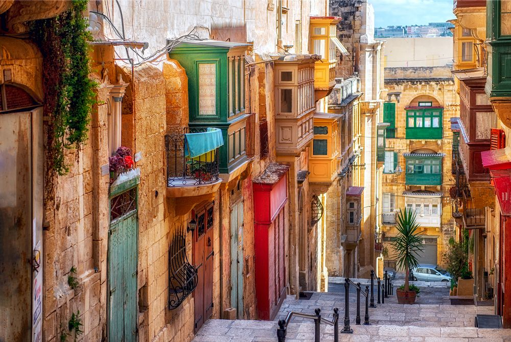 Colorful streets in Valletta