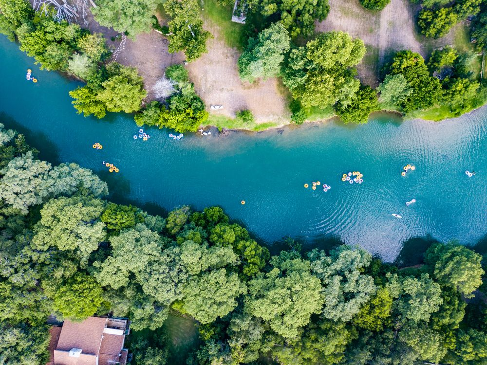 Aerial view of tubing in Guadalupe River