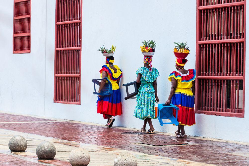 Traditional fruit vendors in San Basilio de Palenque