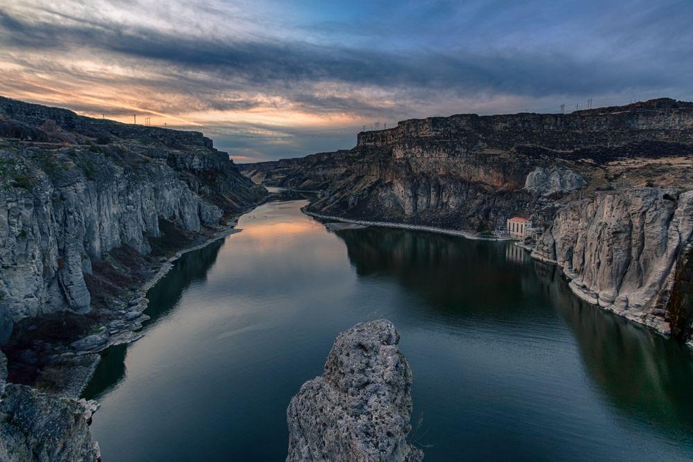 Sunset in Snake river, Idaho