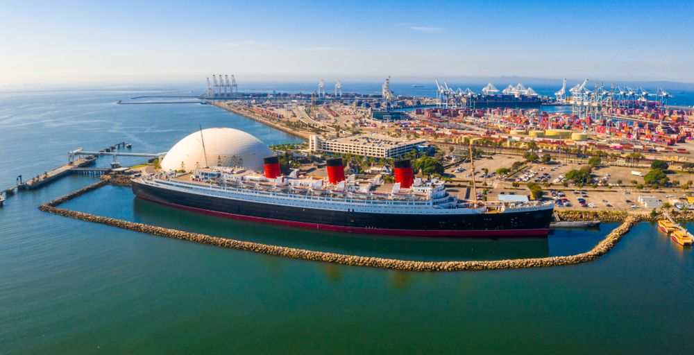 Aerial view of RMS Queen Mary
