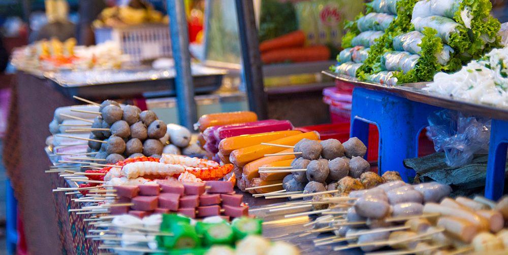 Street food market in Phnom Penh