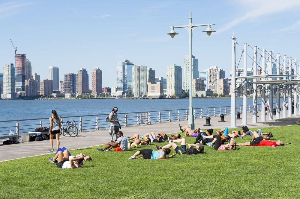 Fitness camp in Hudson River Park