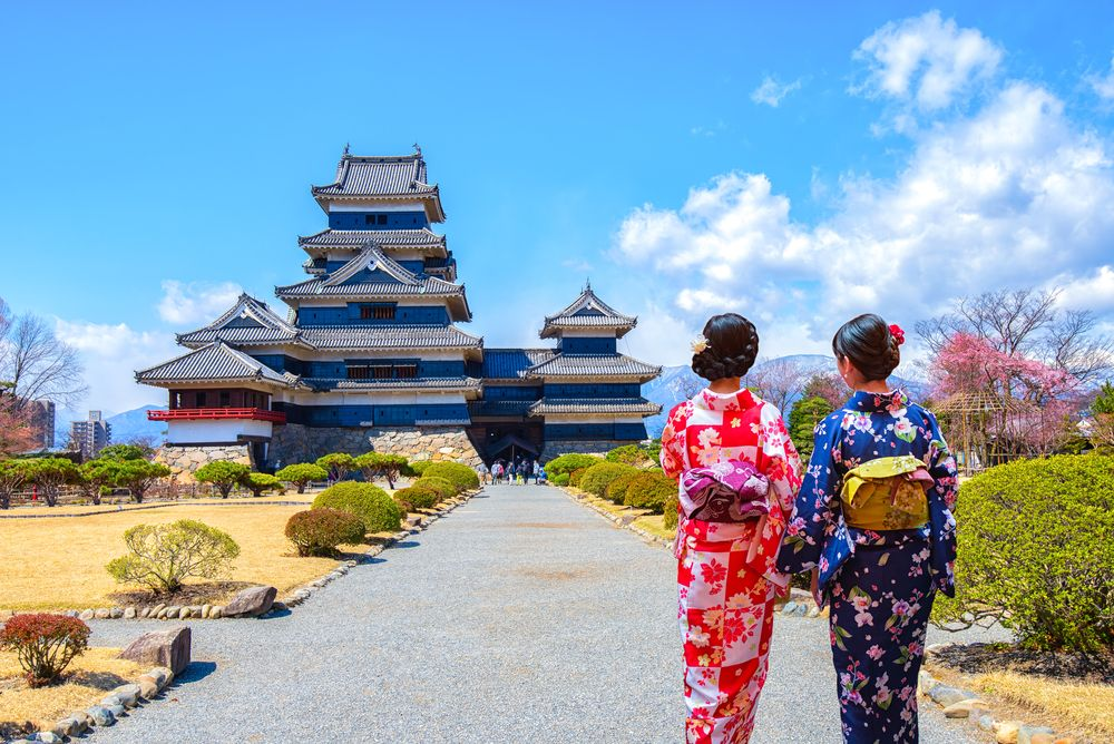 Geishas wearing traditional clothing at Matsumoto Castle