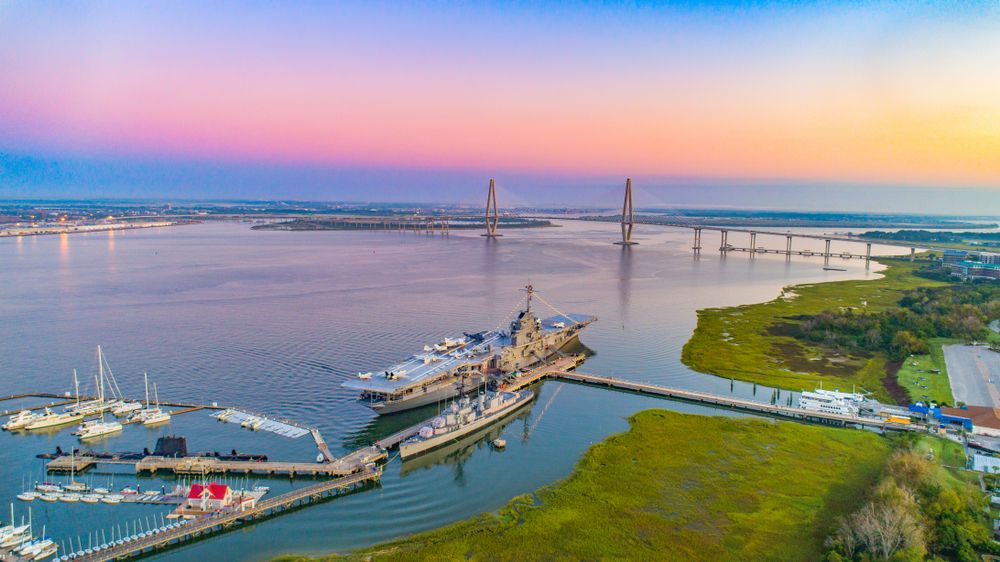 Aerial view of Patriots Point