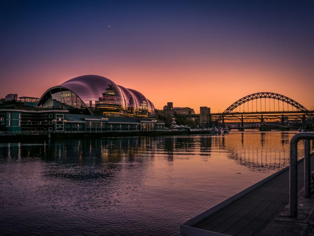 Sage Gateshead at dusk