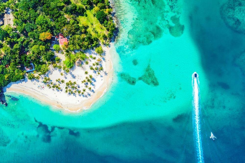 Aerial view of Samana Bacardi Island