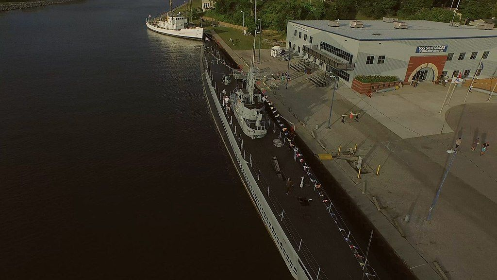 Aerial view of USS Silversides Submarine Museum