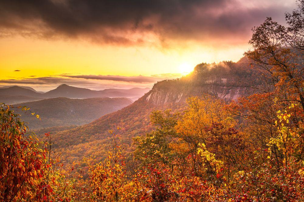 Whiteside Mountain during autumn
