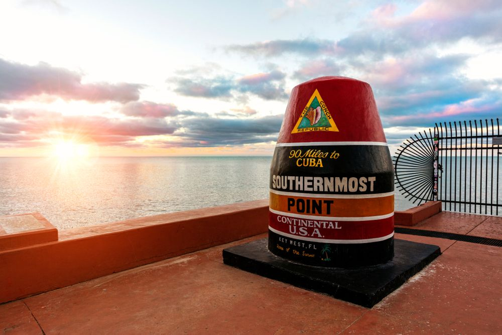 The Southernmost Point Marker in Key West in Sunset