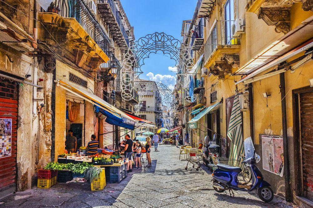 Palermo street market.in Sicily