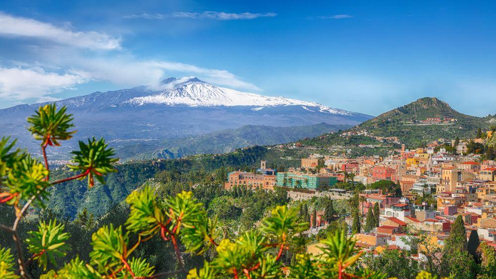 Aerial view of Mount Etna Volcano