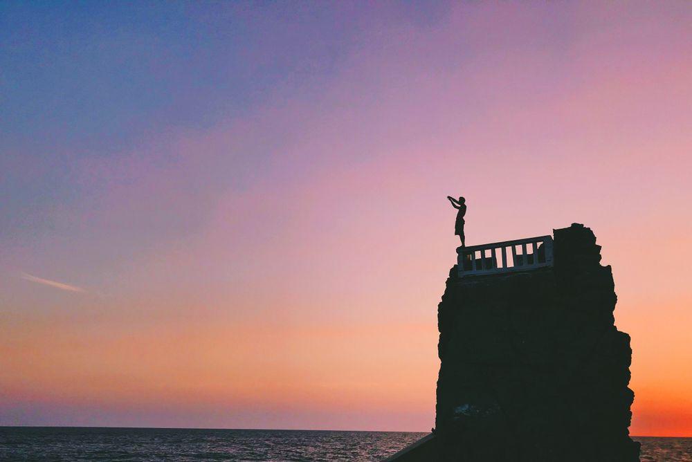 A Cliff Diver at El Clavadista