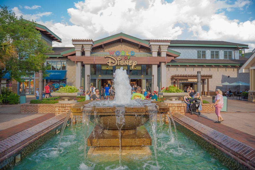 Waterfalls in Disney Springs in Orlando