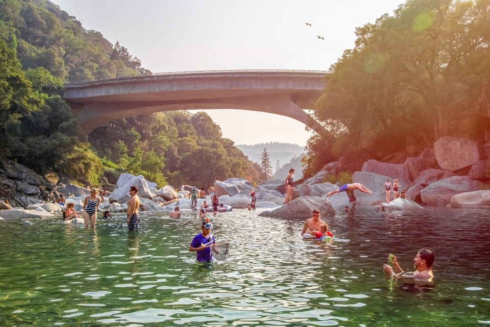 People swimming in the South Yuba River