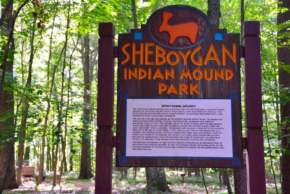 Sign at the entrance of Sheboygan Indian Mound Park
