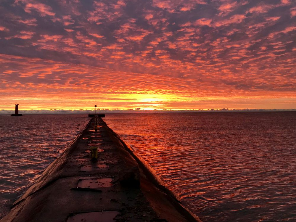 Sunrise Lake Michigan in Sheboygan, Wisconsin