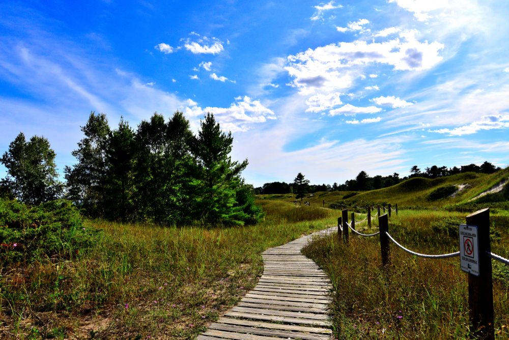 A walkway at Kohler-Andrae State Park