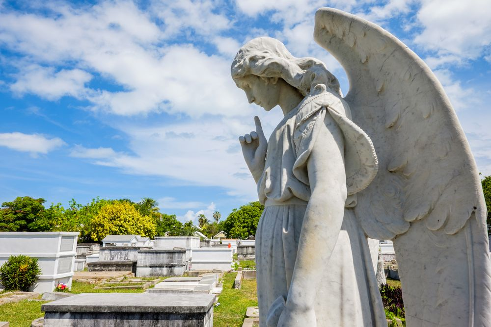 An Angel statue in the Key West Cemetery