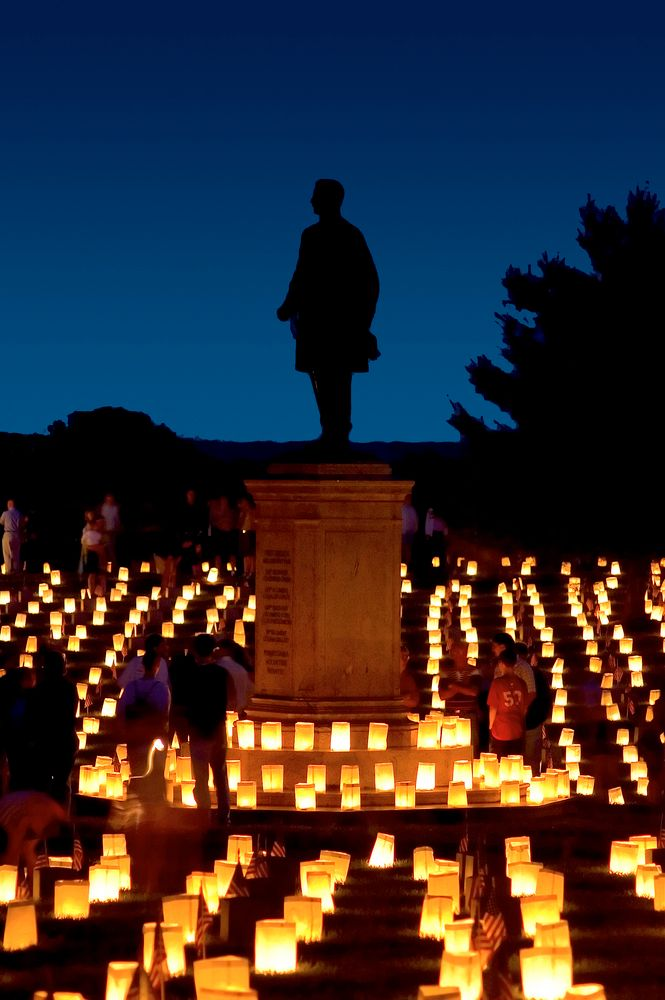 Candle-lighting in Fredericksburg National Cemetery