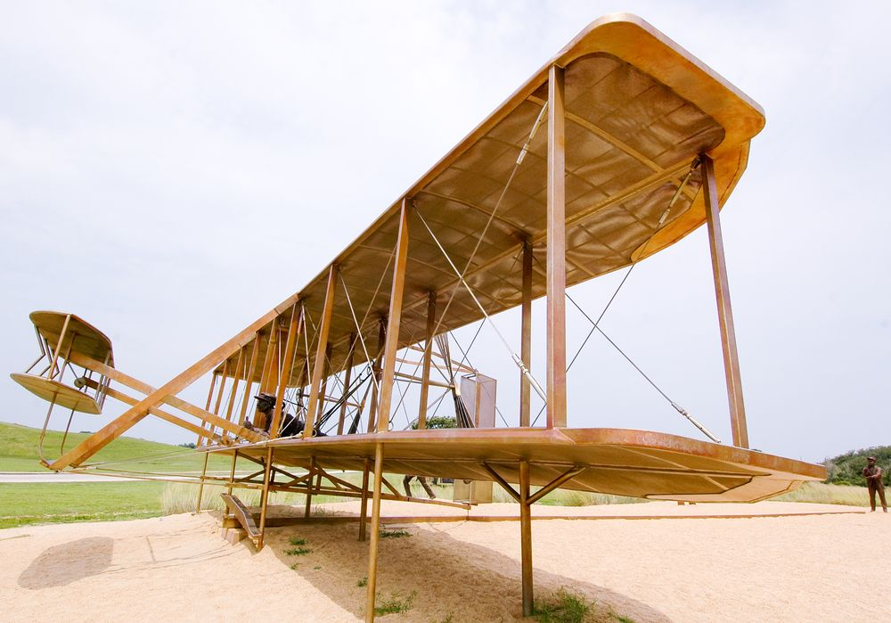 First Flight Statue in Wright Brothers National Memorial in Kill Devil Hills