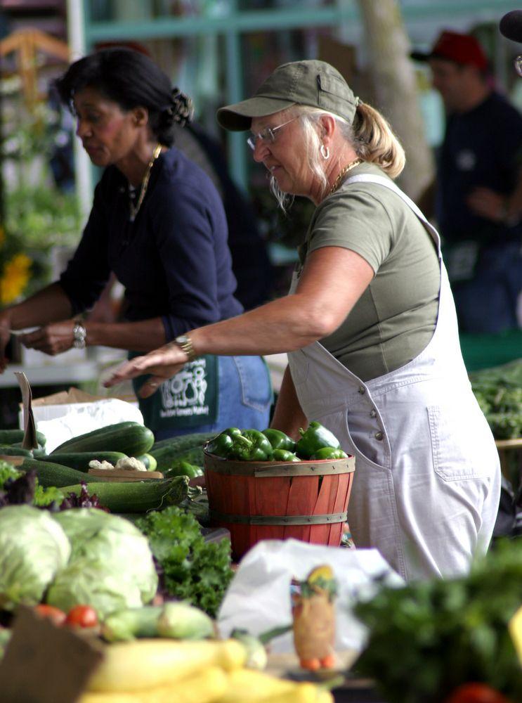 A woman in Ann Arbor Farmers Market