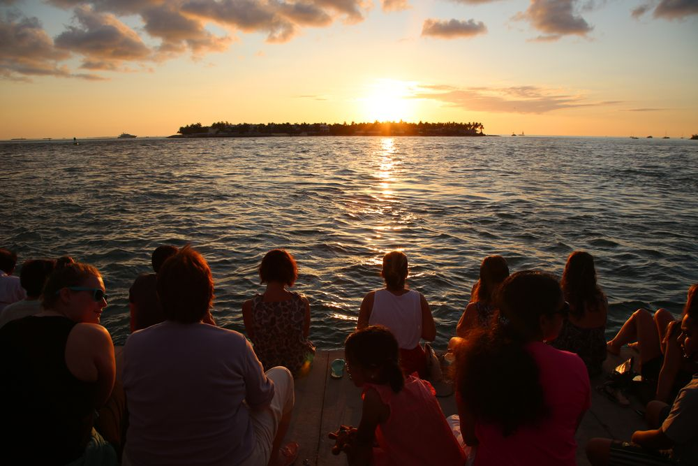 People Watching the Sunset in Mallory Square